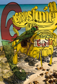 """Crustinien des Galapagos"" written in graphic yellow lettering with black outlines against a photographic background of a beach landscape."