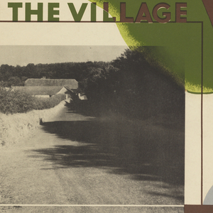 Poster design for the London Underground, advertising the English countryside which can be reached by the railway. At center, two leaves superimposed upon one another, abstractly rendered. Below and to the left, a photograph of a village road by Kate Jacob. To the right of the photograph, in blue and brown: [London Underground logo]. At top of poster, in brown outline: SPRING. At center, left, in green and brown text: IN THE VILLAGE.