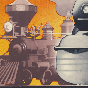 "Poster advertising the exhibit ""Railroads on Parade"" at the Court of Railways held for the 1939 New York World's Fair featuring a John Bull locomotive from 1831 and a contemporary Pennsylvania Railroad streamline locomotive."