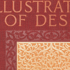 Red cloth cover over loose-leaf binder with introductory text by author followed by diagrams of patterns based on Indian design, photographs of carved teak wood, jewelry, etc.