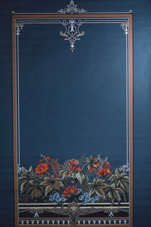 Renaissance Revival style shade. Design is in the shape of a large rectangular framework. A wide band of flowers inside frame at bottom, pendant flourish inside frame top center, with similar flourish top center outside frame.