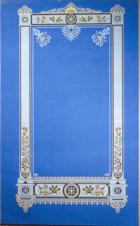 Large rectangular framework, with Renaissance Revival detailing. Stylized floral motifs across bottom, up lower sides, and across the top. White floral pendants within frame at top. Printed on blue paper.