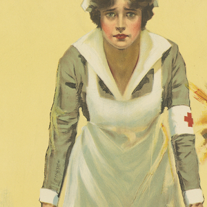 Poster with a light yellow background depicting a Red Cross nurse in the center holding up one end of a brown stretcher and extending the other end in the foreground towards the viewer. The nurse wears a white and greenish-grey uniform, with a badge wrapped around her right arm and a nurse's hat on top of her short brown hair—both featuring a red cross against a white background. An artillery shell bursts in the air at her right behind her. Printed in black, diagonally, across the center of the poster, overlapping with the stretcher: Hold up your end! A large red cross appears directly underneath in the center of the stretcher. Printed in smaller black text, below the cross: WAR FUND WEEK / One Hundred Million Dollars.