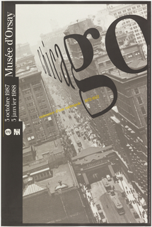 """The right half of an archival 1913 photograph of Chicago by J.W. Taylor, from the collection of The Art Institute of Chicago's Burnham Library, is tipped to the left to suggest the receding streets of the city.  In a contrasting movement, the word """"Chicago,"""" in the Musee d'Orsay's official Waldbaum font and aligned with the architecture, begins in the distance and looms forward wrapping around the corner of the skyscraper-filled street, ending with a large """"O,"""" perhaps alluding to the """"O"""" of Orsay."""
