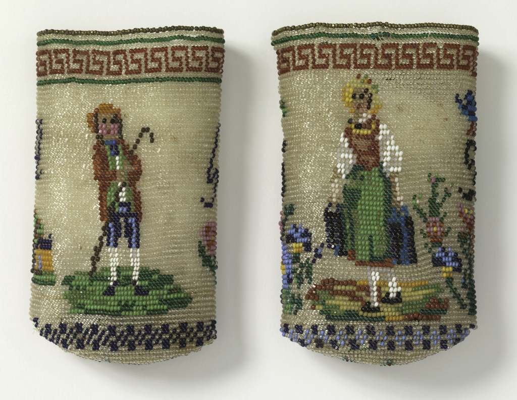 Case in two parts: one part made to slip over the other. Made of white and colored glass beads in design of human figures, flowers and initials.