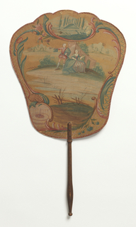Handscreen with a hand-painted paper leaf and turned wood handle.  Obverse: man and woman in landscape. Reverse: floral sprig with pink and red flowers.