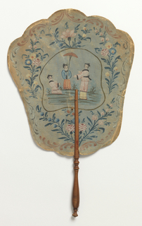 Handscreen. Obverse: painted paper showing floral border with three Chinoiserie figures. Reverse: printed paper showing map of the British Isles with description in French. Turned wood handle.