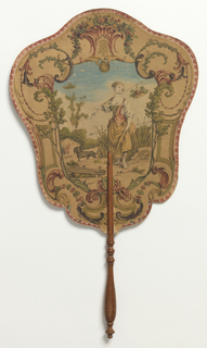 Handscreen with an engraved and hand-colored design. Obverse: a shepherdess enclosed within a frame of arabesques and foliage. Reverse: a map of South America.