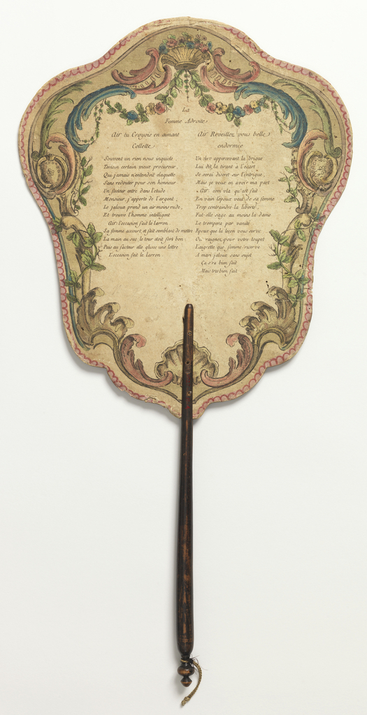 """Handscreen with paper lear and turned wood handle. Obverse: scrolling cartouche with an interior scene showing a seated woman counting money while a standing woman passes an envelope to a messenger. Reverse: scrolling cartouche with rocaille and the poem """"Femme Adroite."""""""