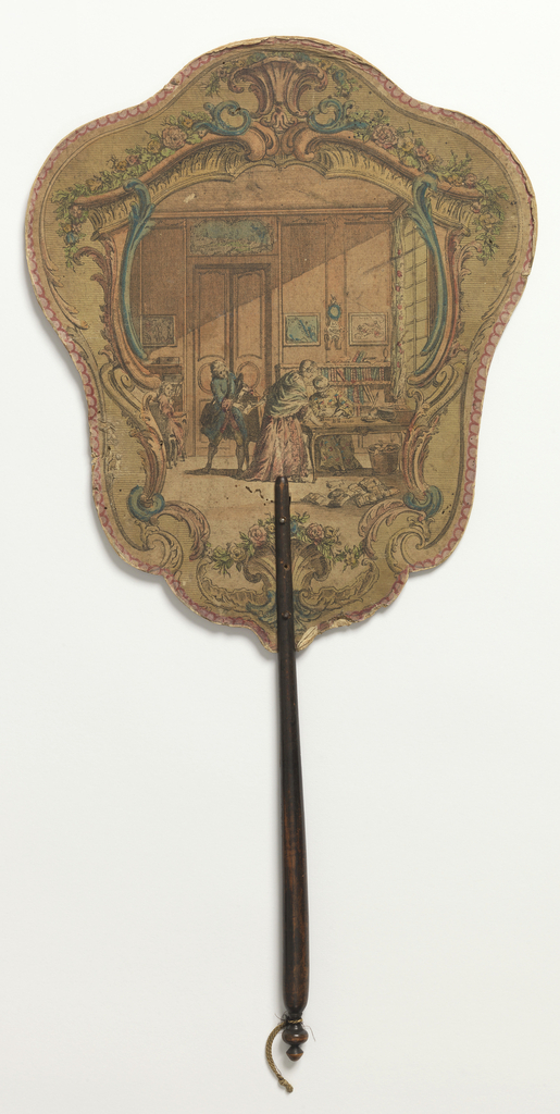 "Handscreen with paper lear and turned wood handle. Obverse: scrolling cartouche with an interior scene showing a seated woman counting money while a standing woman passes an envelope to a messenger. Reverse: scrolling cartouche with rocaille and the poem ""Femme Adroite."""