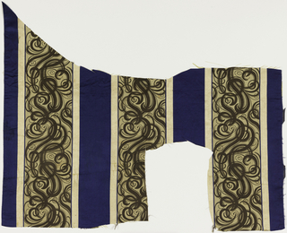 Fragment of woven silk with broad blue satin stripes alternating with broad beige stripes with supplementary warp forming elaborate interlacing scrolls in dark brown. Flanked by narrow guard stripes of ivory mini-checkerboard formed by supplementary warps.  Fragment very irregular in shape as it is remant from upholstery of a sofa and two chairs.