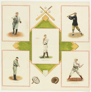 """Square souvenir panel with baseball players in rectangles superimposed over a baseball diamond with crossed bats and baseballs at the top, and a catcher's mask and glove at the bottom. The five baseball players are Christy Mathewson, John Franklin """"Home Run"""" Baker, Tris Speaker, Ty Cobb and Marty O'Toole. Each rectangle is printed with a red cross stitch in imitation of embroidery."""