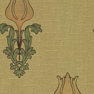 Stylized individual tulips with large leaves. Background has vermiculation. Ground is green. Printed in pink mica, gold mica, green mica, and brown. 