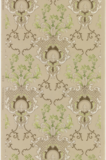 Acanthus scroll medallions with trellis work and beading. Atop each medallion of more foliate scrolls and stylized floral sprigs. Printed in colors on a taupe ground.