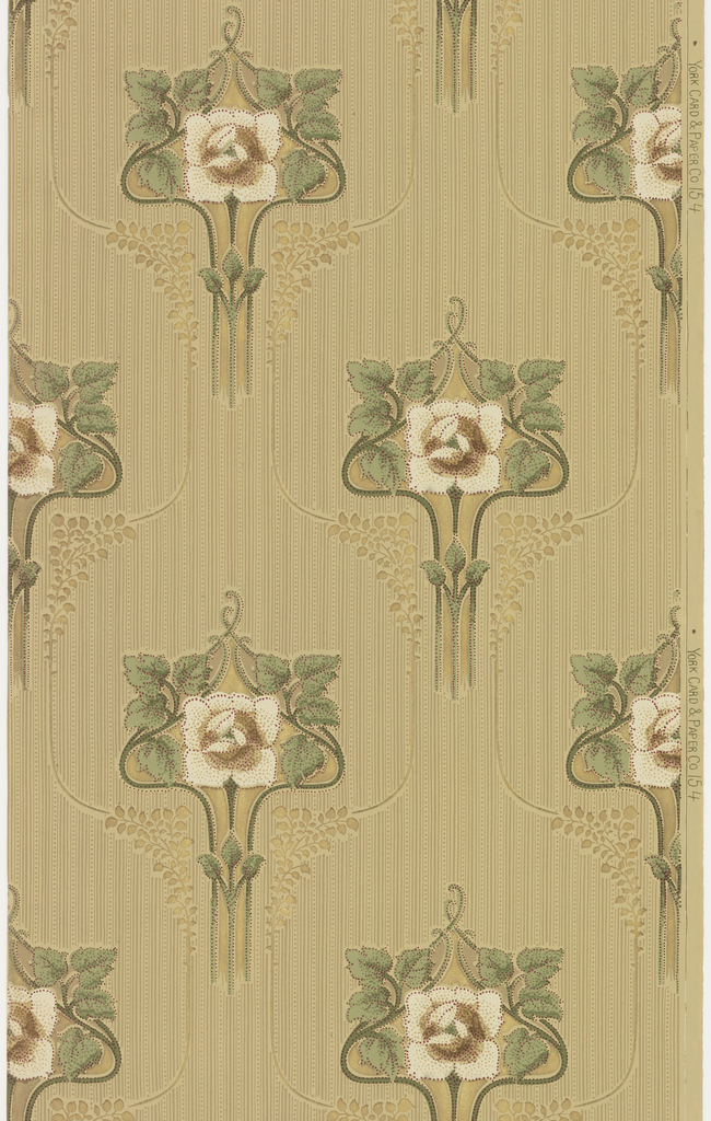 """Art nouveau / mission style. Large singular white stylized flowers with stem and leaves loosely outlined in a metallic gold line with large bunches of foliage. Background of monochromatic stripes and dots or beading. Printed in greens, browns, tan, white, maroon and metallic gold on light brown-green ground. Printed in right selvedge: """"York Card & Paper Co."""" pattern number """"154""""."""