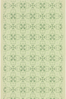 Quatrefoil motifs formed with foliate scrolls, linked by boss of four bellflowers. A smaller boss with four bellflowers fills the void between quatrefoils. Printed in dark green and white mica on light green ground.