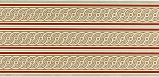 Printed three across, guilloche pattern printed in ocher and tan with maroon band along either edge.