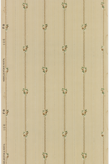 Small floral motif on stripe. Printed in green, white and brown on tan ground.