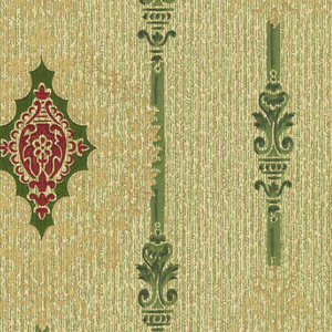 """Diamond motif forming a stripe design. Printed in green, burgundy and gold on tan ground. Printed in selvedge: """"Imperial Glen Falls 445"""""""