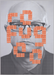 "Poster for the EyeSaw 2009 exhibition, from Gowing's Labelled Series. Black-and-white photo of a bespectacled, middle-aged man, pictured from the neck up. Across his face, text reads ""re / fug / ee"". The letters are comprised of many small red rectangular stickers, each printed with the word ""SOLD"" in white."