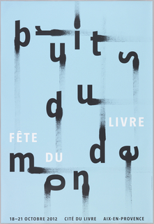 "Staggered, smeared black letters on light blue ground read ""bruits du monde."" The letters are rotated in different directions. ""Fête du livre"" (book festival) is printed in smaller white text above the word ""monde."""