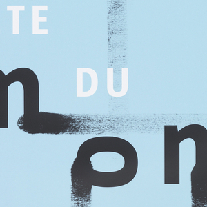 """Staggered, smeared black letters on light blue ground read """"bruits du monde."""" The letters are rotated in different directions. """"Fête du livre"""" (book festival) is printed in smaller white text above the word """"monde."""""""