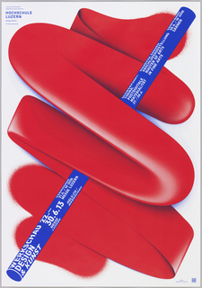 Poster for the Werkschau of the Lucerne University of Design and Art. Poster features a large red squiggle that begins in the lower left as spray paint, before morphing into paper, then plastic, and then changing back to its original form in the top right.  The squiggle overlaps the form of a blue pole featuring in white text information about the exhibition.