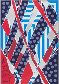 "Weltformat festival poster. Sections resembling torn paper overlap with one another. Each section is printed in one of the following patterns: black with grey dots, blue rectangular stripes, and pink with maroon circle. In the bottom left corner, on a pink section, scrawled text reads: ""Welt / format / plakat / festival / 12.-20.10.13 / Luzern!"""