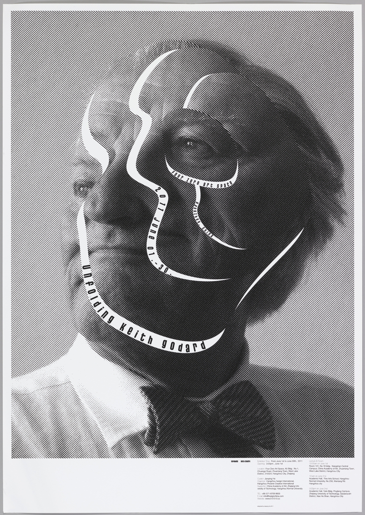 An asymmetric collage of a portrait of designer Keith Godard. There are white s-curves on Godard's face with details of the exhibition printed inside in lowercase letters.