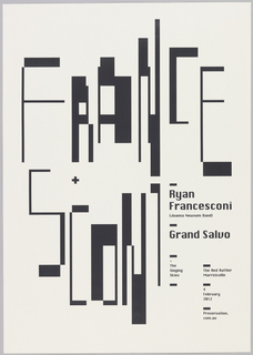 "The surname ""Francesconi"" is printed in two registers (France / sconi) in narrow, pixelated black letters on a white ground. The letters are staggered and uneven. In the lower right, smaller text blocks give information about the concert."
