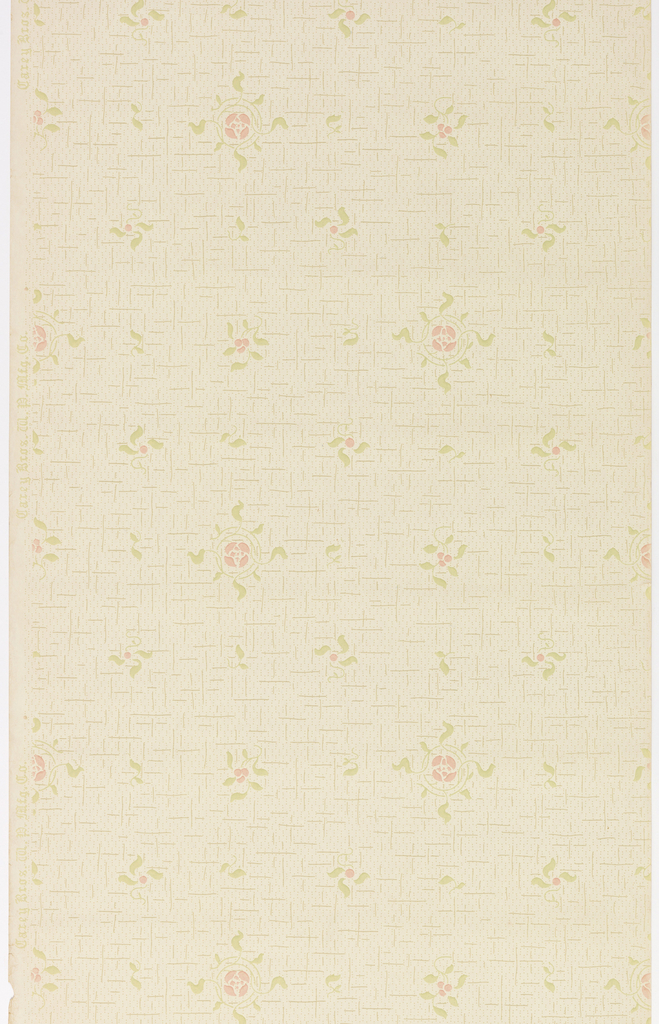 Horizontal rows of repeating, stylized blossoms with symmetrical surround of leaves and clusters of three berries with leaves alternate with horizontal rows featuring repeating clusters of leaves and leaves with one berry. Blossoms, berries and leaves are rendered to resemble stenciled designs, and are printed on top of a busy, hash-mark background. Pattern printed in pink, pale green and tan on khaki ground.