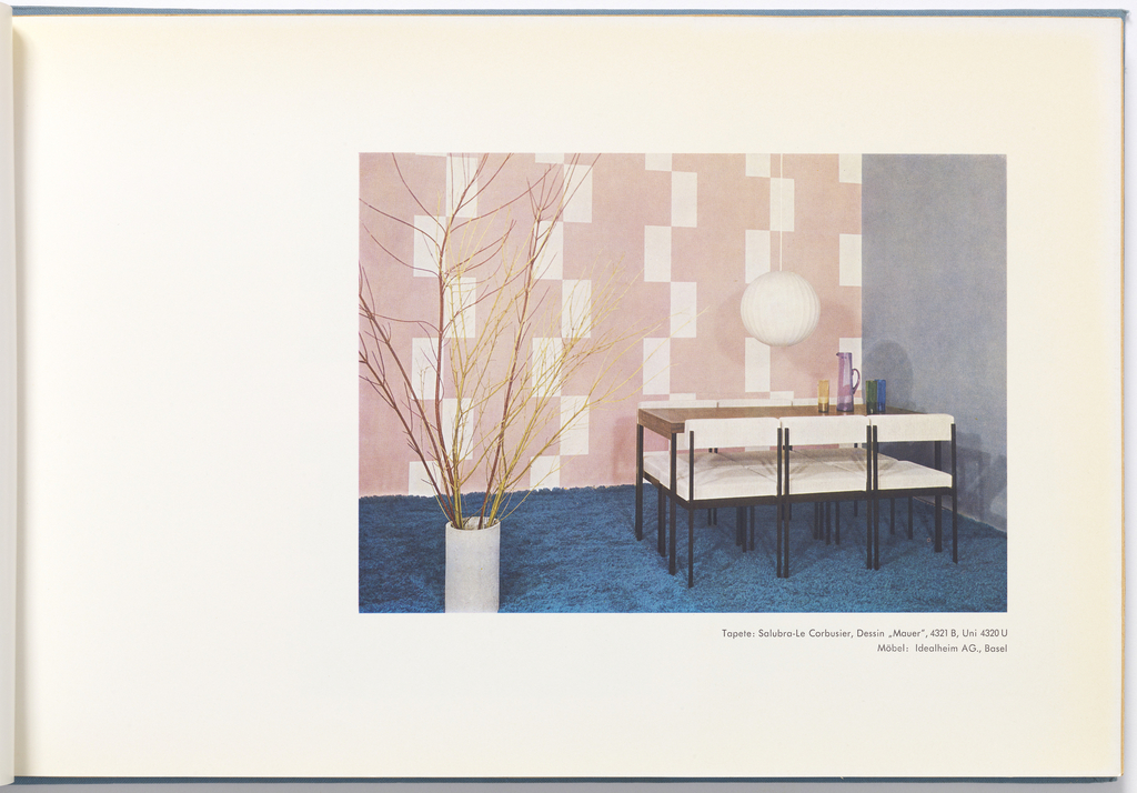 """Contains 3 different designs, """"Mur"""" (Wall), """"Marbre 1"""" (Marble l) and """"Marbre ll"""" (Marble ll).  Each design is presented in multiple colorways. Three color photos show each different design in situ. This book also includes 20 samples of plain colors along with multiple illustrations showing variety of ways paper can be installed."""