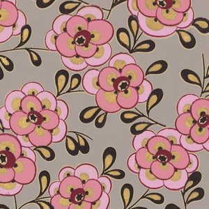 Stylized pink flowers, black leaves. Metallic gold accents. Gray background on ungrounded paper.
