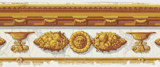 Architectural molding with dentils over urns and lion masks printed on white marbleized ground.