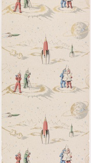 Children's paper with outer space motif containing rockets and spacemen. Spacemen are dressed in pink, green, or blue suits. A blue space ship is circling a planet, a pink rocket is ready to launch while a green space ship is flying. Metallic gold is used on a pink ground.