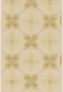 Tile-like ceiling paper featuring alternating leaf-like quatrefoils with scalloped border and beige medallions containing radial, foliate designs. Beaded swags create the borders between quatrefoils and medallions. Printed in browns, yellows and greens on khaki ground.