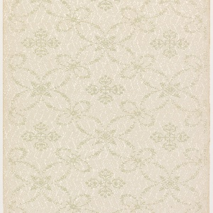 Large trellis pattern composed of delicate, symmetrical floral swags. Cells contain diamond-shaped medallions composed of foliate detailing. Trellis and medallions are printed in gold on top of a white, allover zig-zag line-work pattern. Khaki ground.