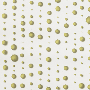 "Polka-dot design with a vertical orientation. Printed in shades of green on a white ground, the size of the dots varies, and each has the appearance of being ""dropped"" onto the page."