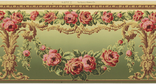 Flitter frieze containing swags of roses hung from acanthus leaf candelabrum, with a border of bead-and-reel pattern. Printed in pinks, greens, tans and gold mica flakes on a background that shades from tan to green.