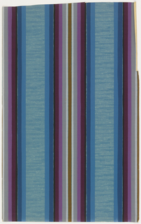 Large central band of stripes on strie ground. Printed in light blue, dark blue, black, magenta, purple, grey and brown on a blue ground.