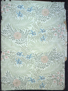 All-over floral and foliage design. Printed in pink, blue and green on off-white ground.