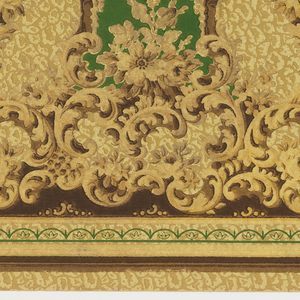 "Alternating medallions framed by acanthus leafs and filled with floral bouquets. Large ""C"" scrolls and groups of flowers swirl upward towards the medallions from the bottom of the frieze. Background contains a gold, pebble pattern. Printed in gold, beige, and green."