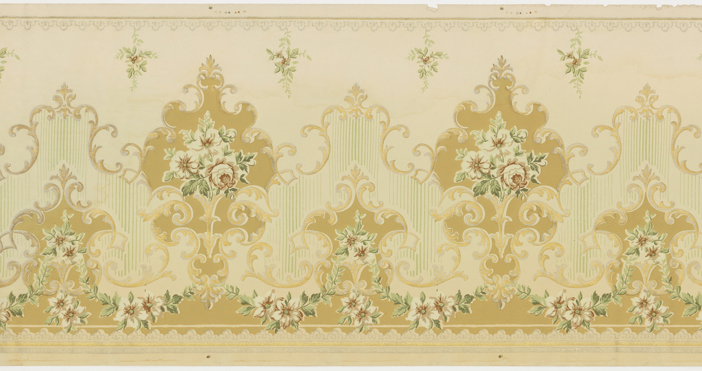 "Series of medallions, alternating between large and small, framed by ""C"" scrolls, and filled with bouquets of flowers. A floral swag runs across the bottom. Small bouquets of flowers hang vertically from the top of the frieze. Printed in metallic silver and gold, white, shades of pink and green."