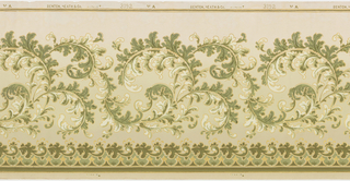 A scrolling acanthus leaf design, repetitive in a wave-like formation on a cream ground. A scalloped line topped by a line of small acanthus leaves run across the bottom. Printed in white, gold, and shades of green.