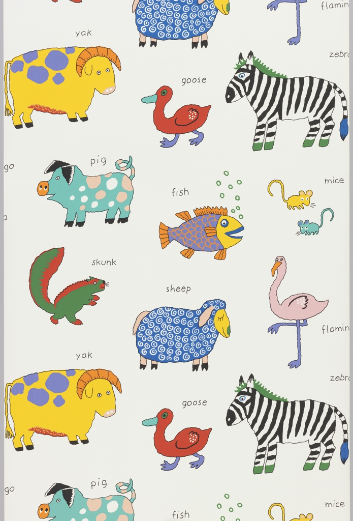 Children's wallpaper showing a variety of animals including a zebra, sheep, pig, duck, fish, skunk, mouse, yak and a flamingo arranged across the width of the paper. With exception of the zebra each is brightly colored in unnatural hues. The name of each animal is printed above the figure. Printed on a white ground.
