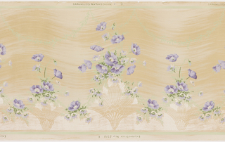 A repeating design of alternating large and small mica vases filled with bouquets of lavender flowers, connected by complementary floral vines, upon an ivory background with wavy brushstrokes of pale ochre, contained within celedon and mica borders.