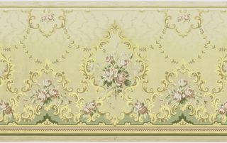 Acanthus leaf border with cartouche enclosing roses, rosebuds and leaves.