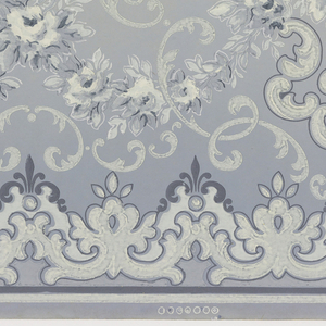 A repeating design of cartouches vases of roses all connected by complementery floral vines, all above a continous ancanthus-like vine design, upon an increasingly pale blue ground contained within borders of pale blue and dark blue.