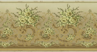 Scrolling foliage adorned by several floral bouquets.  Small floral festoons across green band on bottom. Metalic-embossed gold band and beading at base.  Shaded green background that is darker on bottom and lighter on top.  Printed in yellow, green and metalic gold.