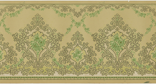 Alternating large and small foliate medalions enclose monochromatic bouquets.  Rolling foliate scroll and green beading on bottom. Similar foliate scrolls on top suspending green floral swags. Designed and printed to similate a textile applique or needle work. Printed in greens and white on green background.
